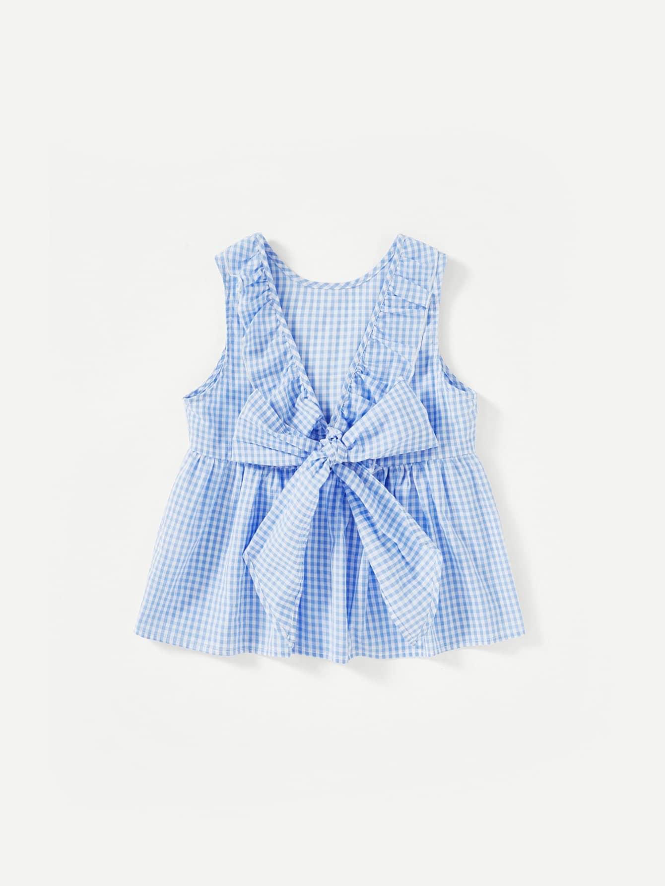 Tied Ruffle V-Back Gingham Smock Top raglan sleeve smock gingham dress
