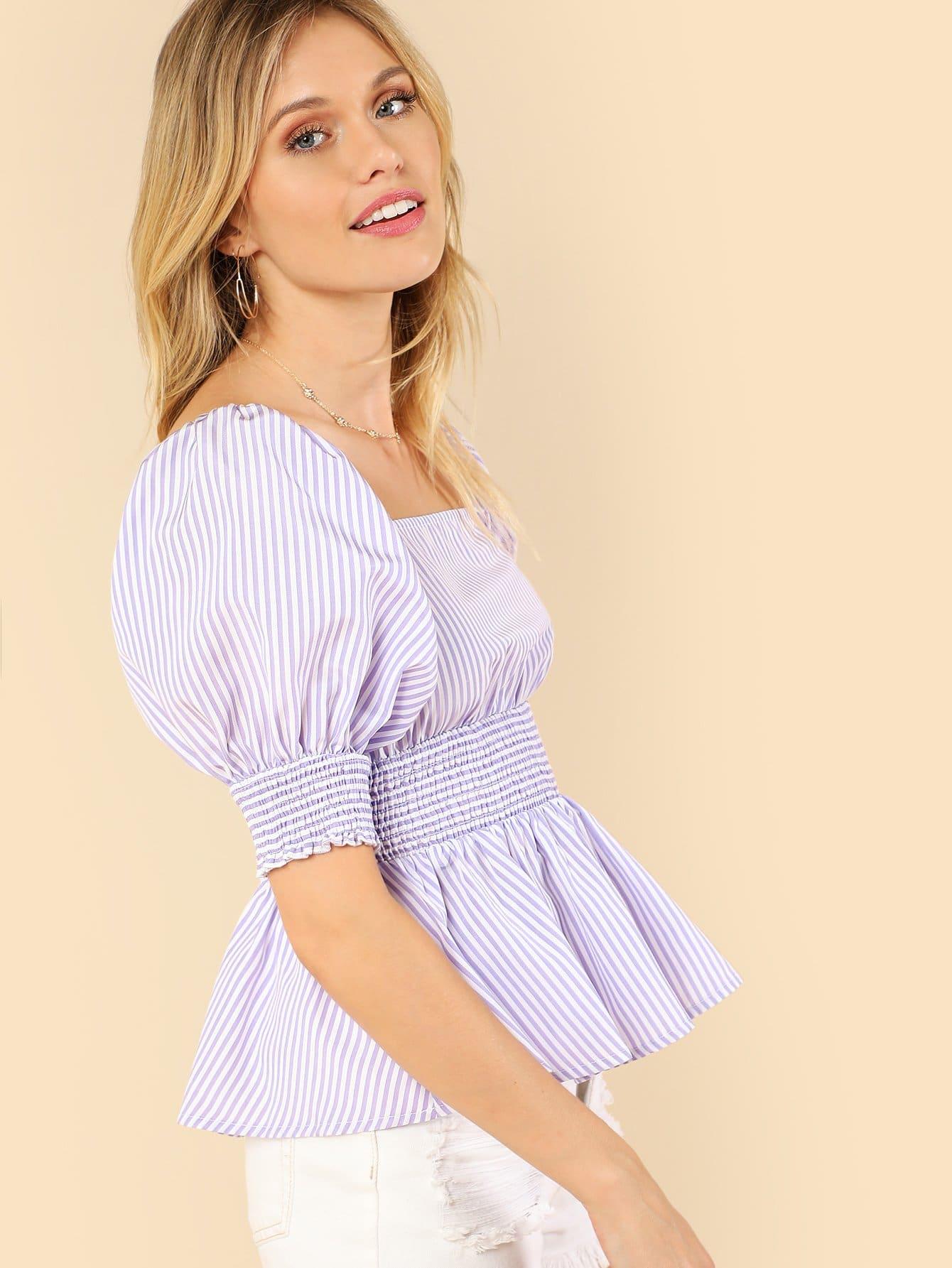 Shirred Cuff & Waist Striped Bardot Top shirred waist zip back fit