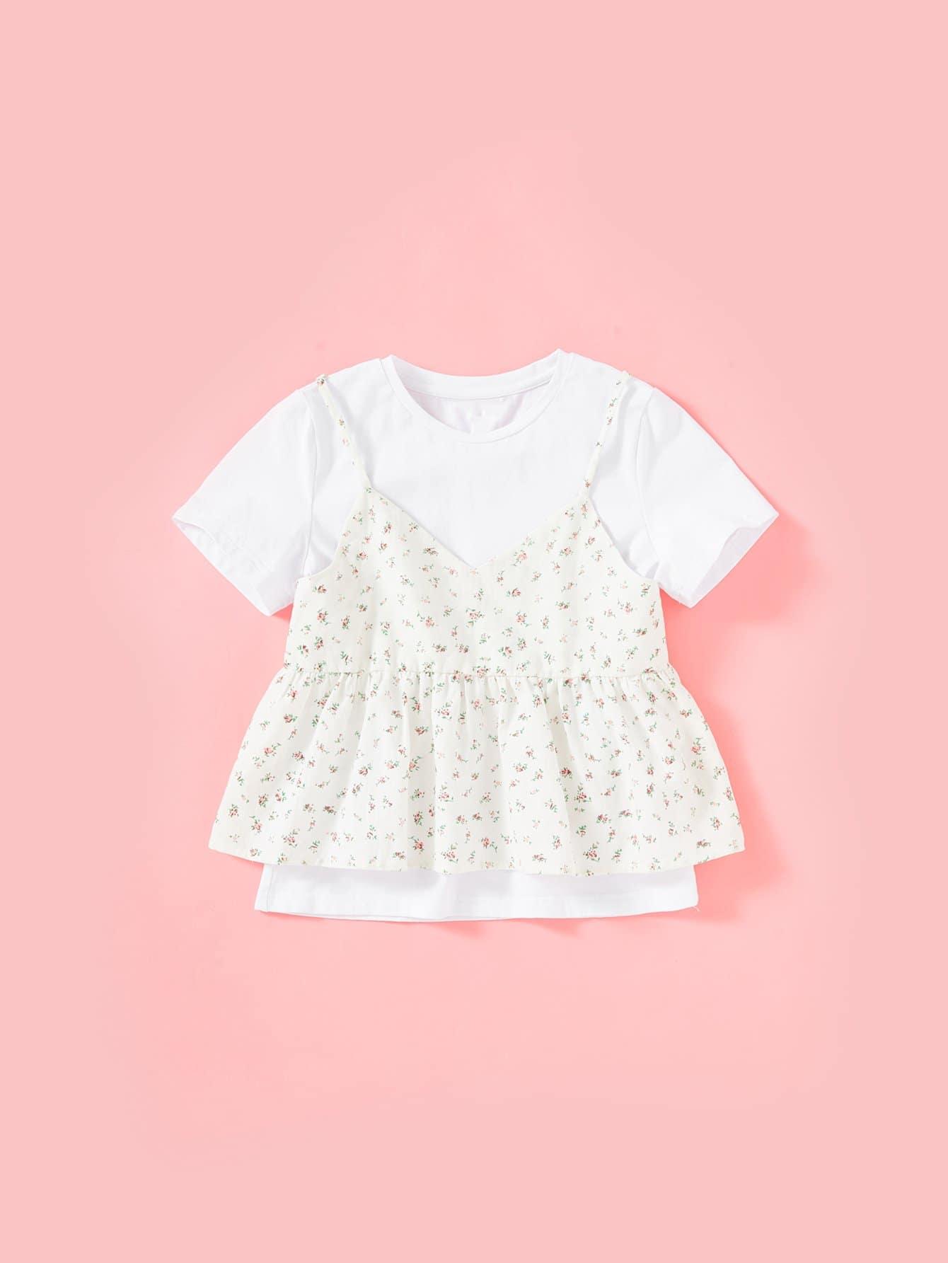 Flower Print Ruffle Hem 2 In 1 Cami Top ruffle embellished flower print cami jumpsuit