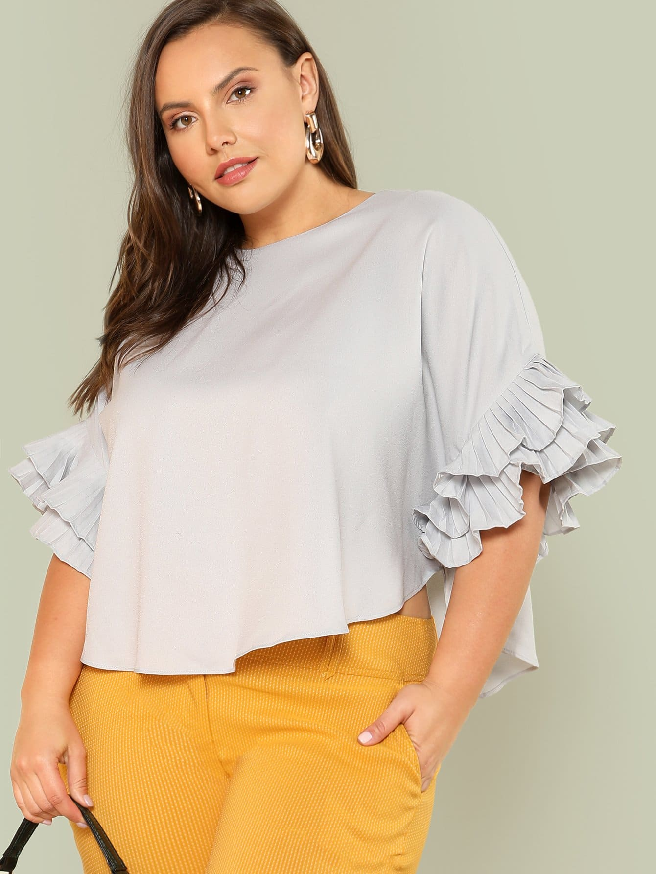 Layered Pleated Ruffle Sleeve Solid Top layered pleated ruffle sleeve solid top