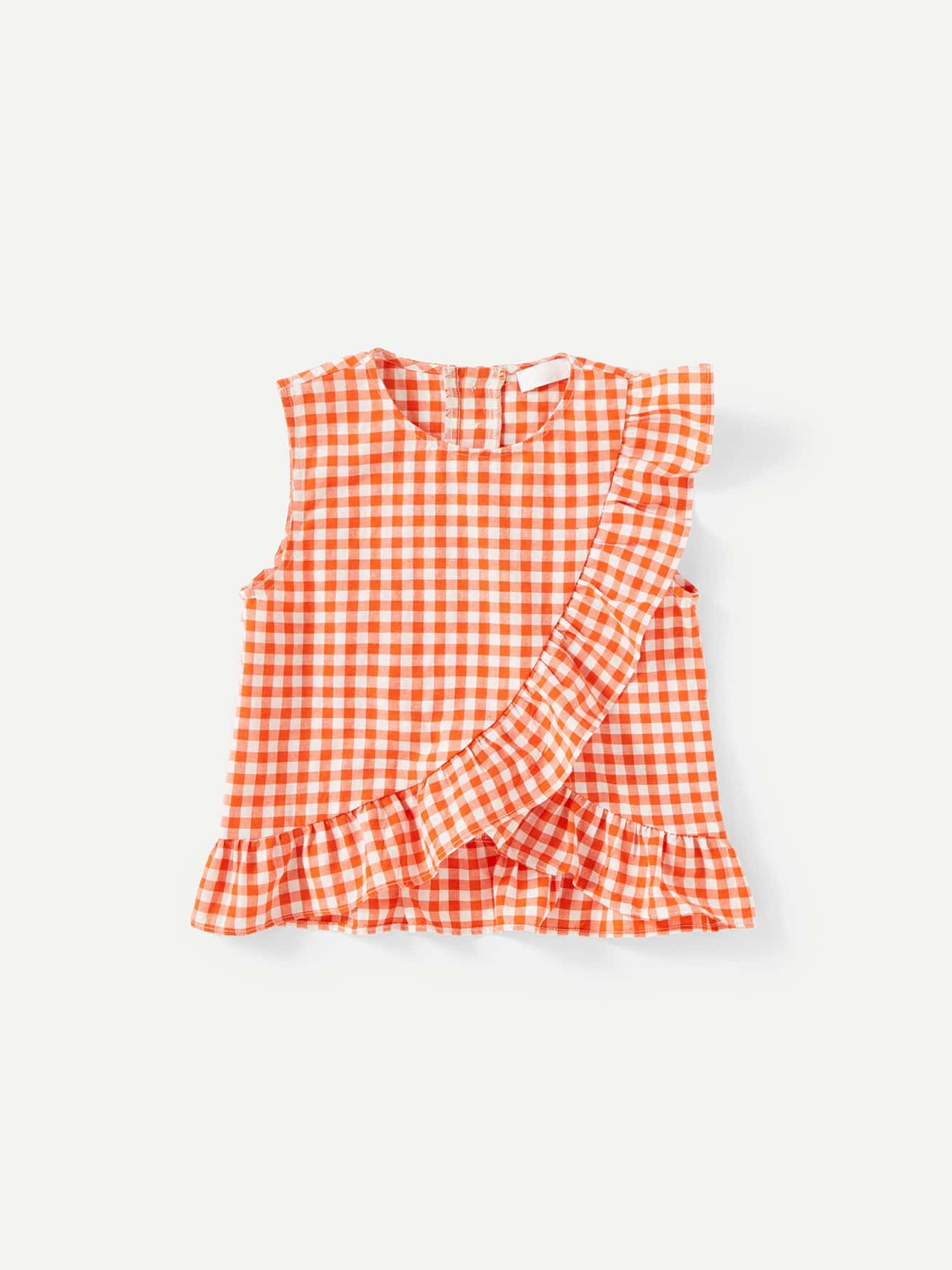 Asymmetric Ruffle Trim Gingham Top цена