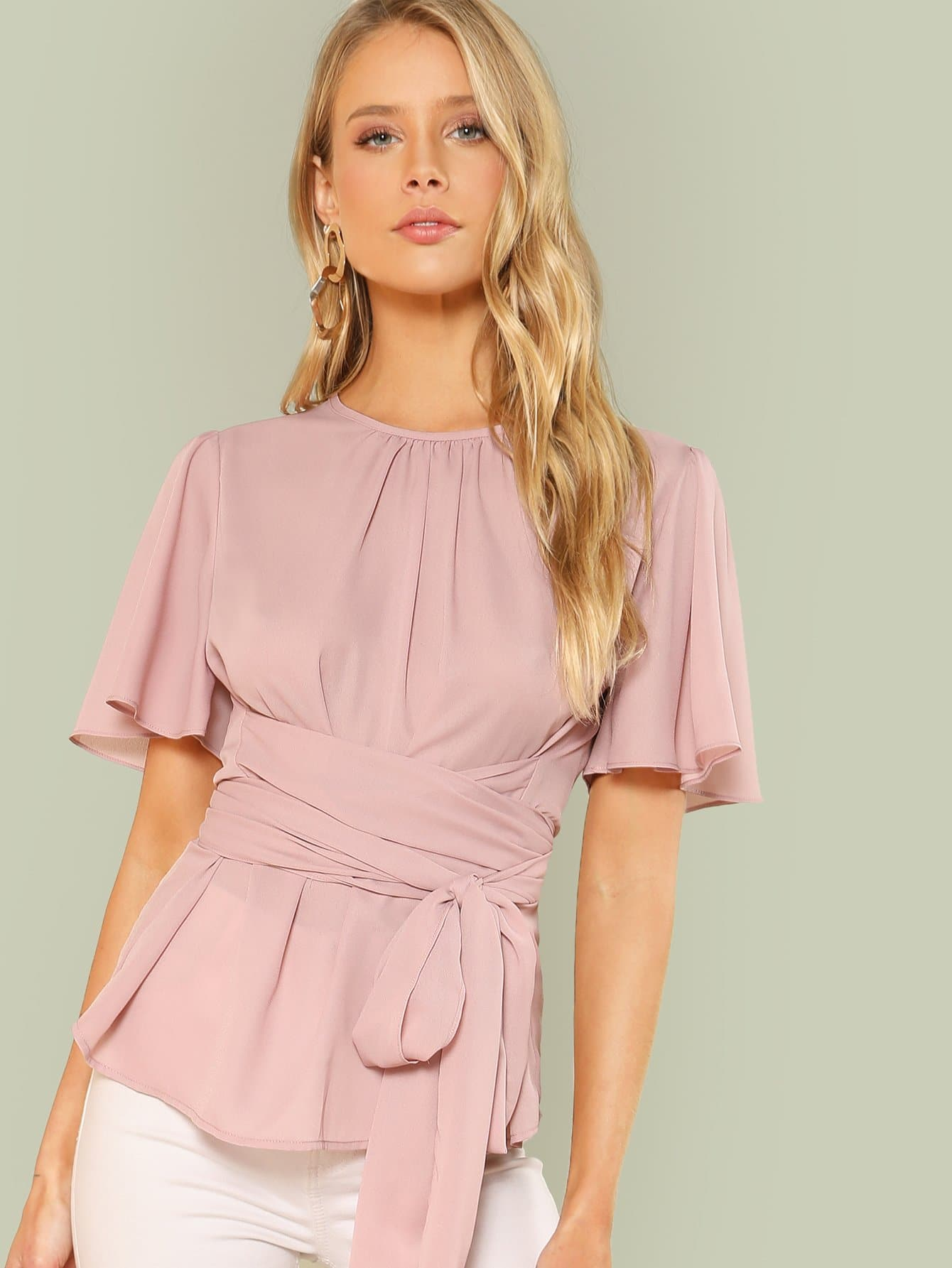 Pleated Front Self Belted Blouse self belted boxed pleated shorts