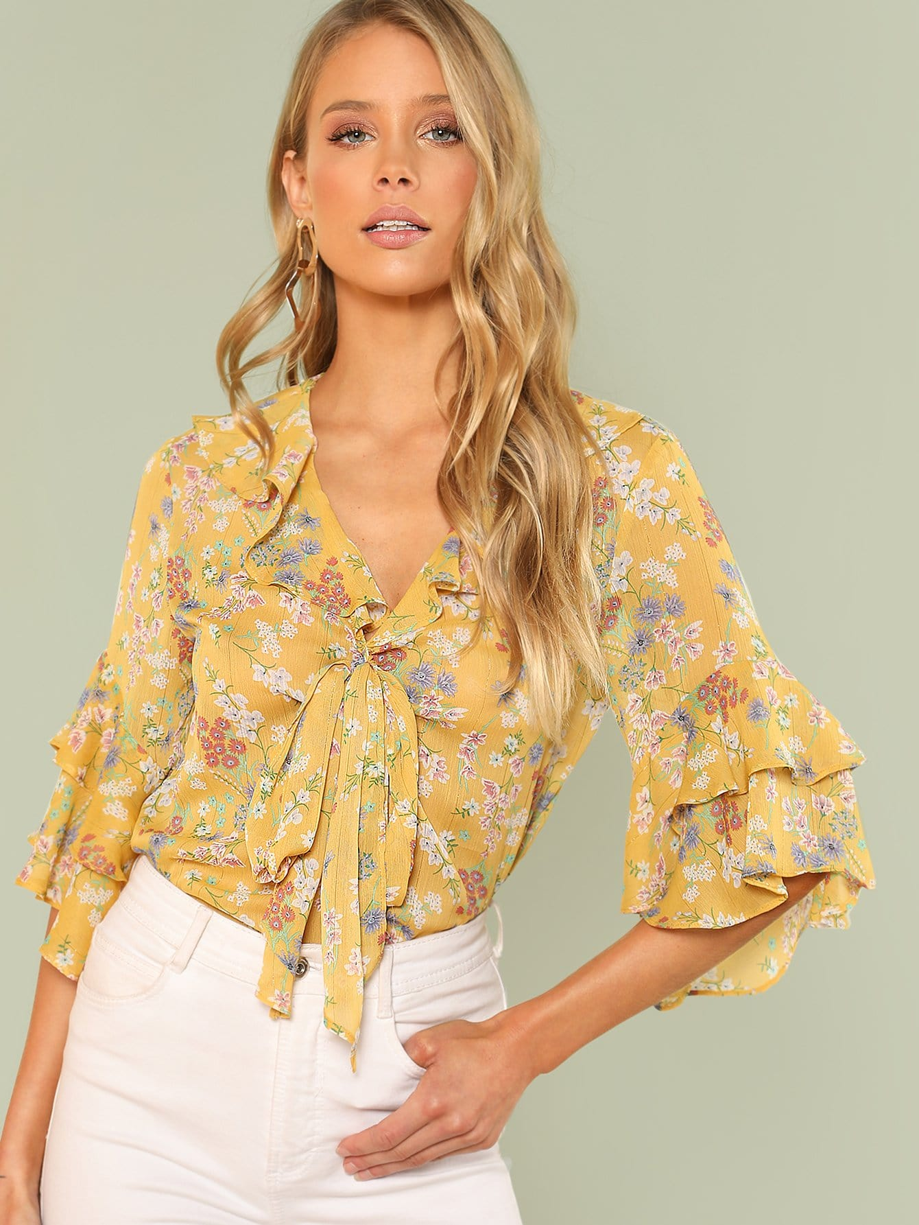 Tie Neck Layered Flounce Sleeve Floral Top layered sleeve floral top
