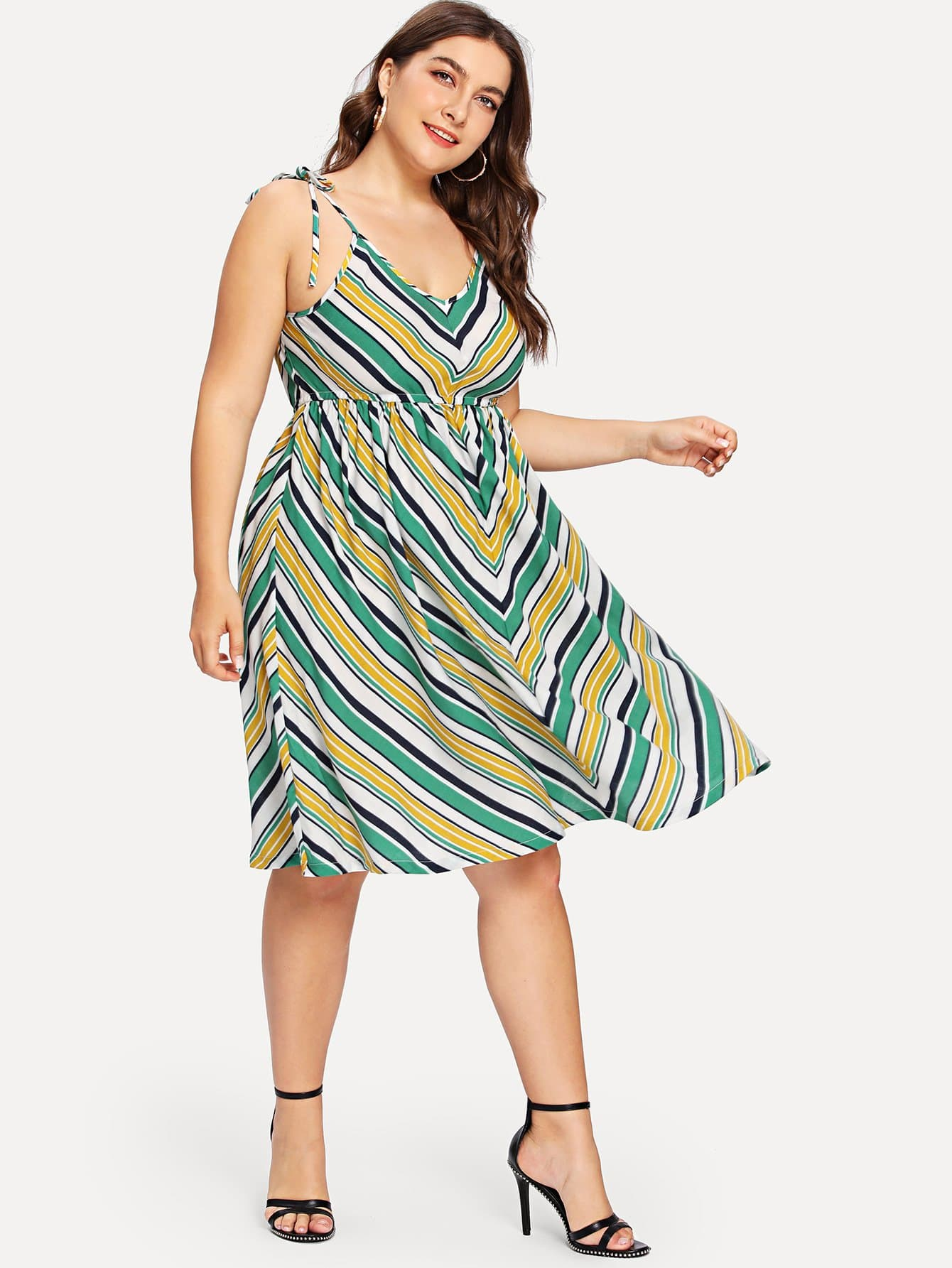 Fit And Flare Striped Cami Dress zip back fit and flared plaid dress