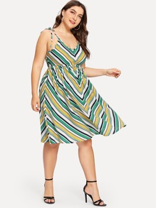 Fit And Flare Striped Cami Dress