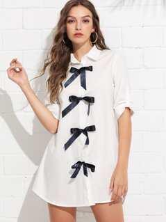 Bow Embellished Shirt Dress