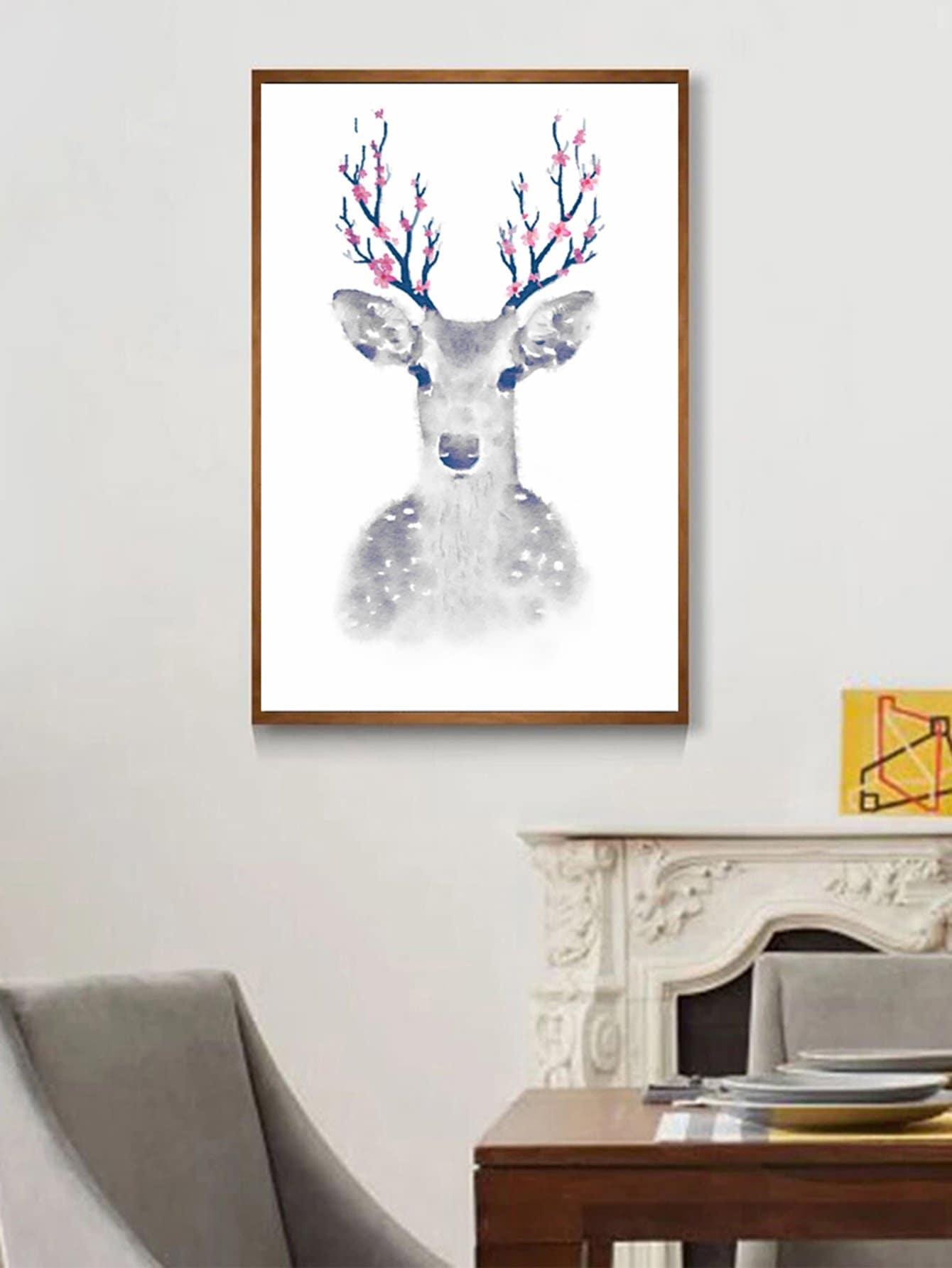 Flower & Deer Print Cloth Art hydrangea flower cloth art