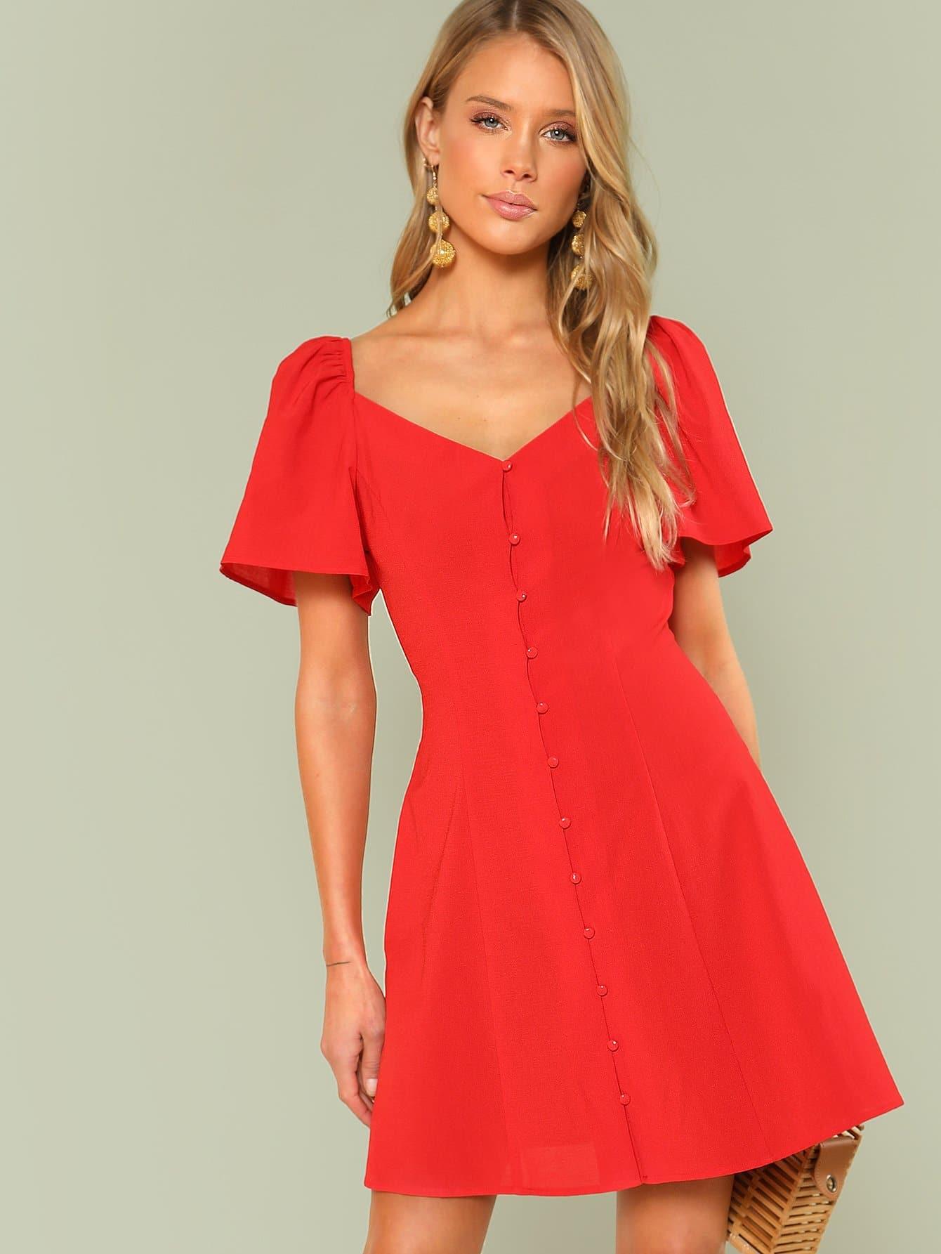 Купить Платье с пуговицами и широкими рукавами, Allie Leggett, SheIn