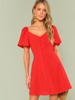Bishop Sleeve Button Up Dress