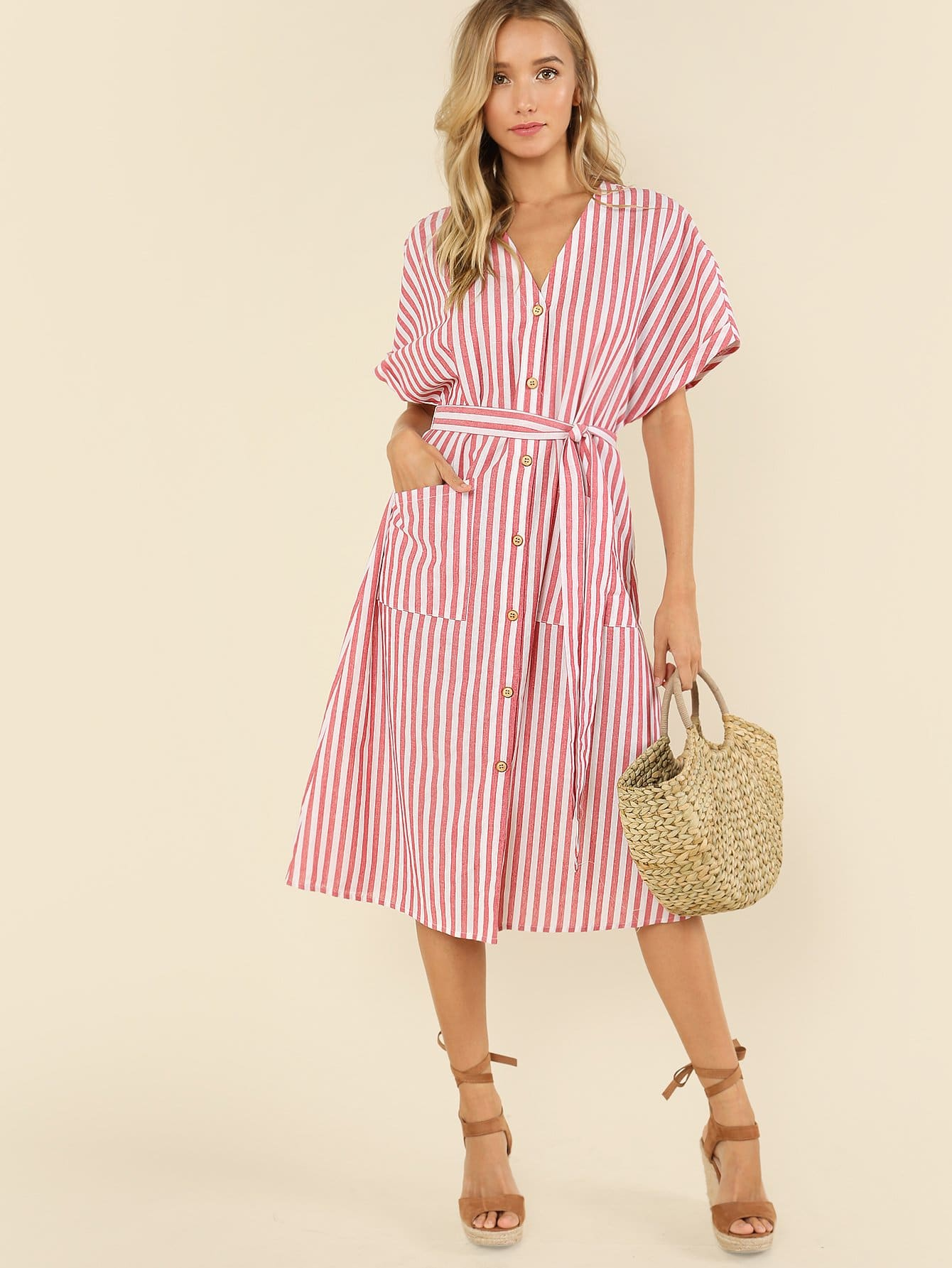 Button Up Pocket Front Belted Striped Dress lace up front striped sleeve dress