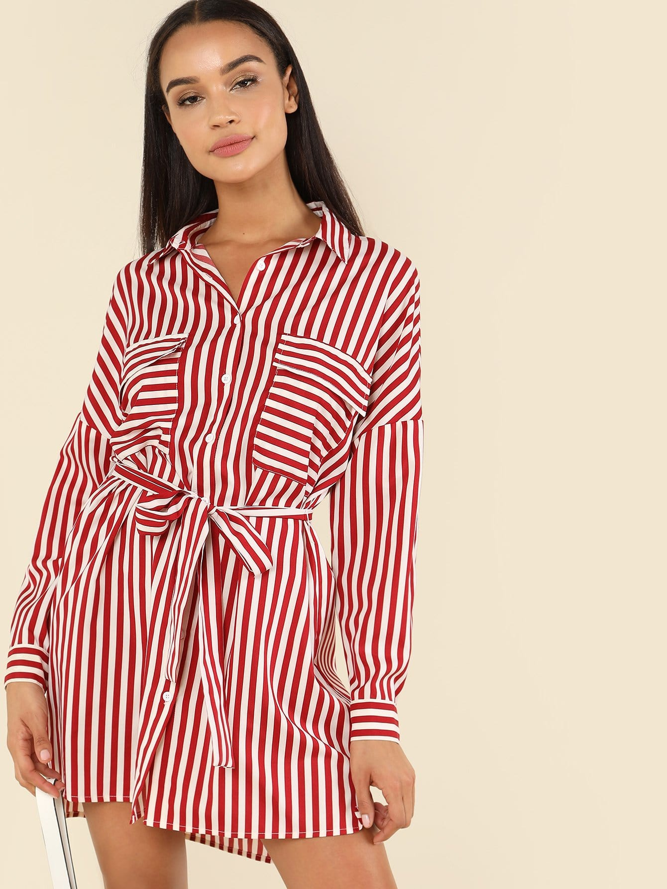 Flap Pocket Front Belted Striped Shirt Dress pocket front shirt dress