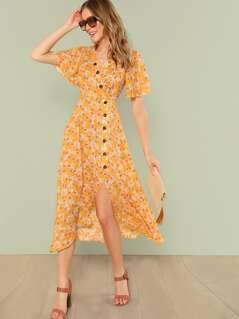 Button Front Slit Hem Dress