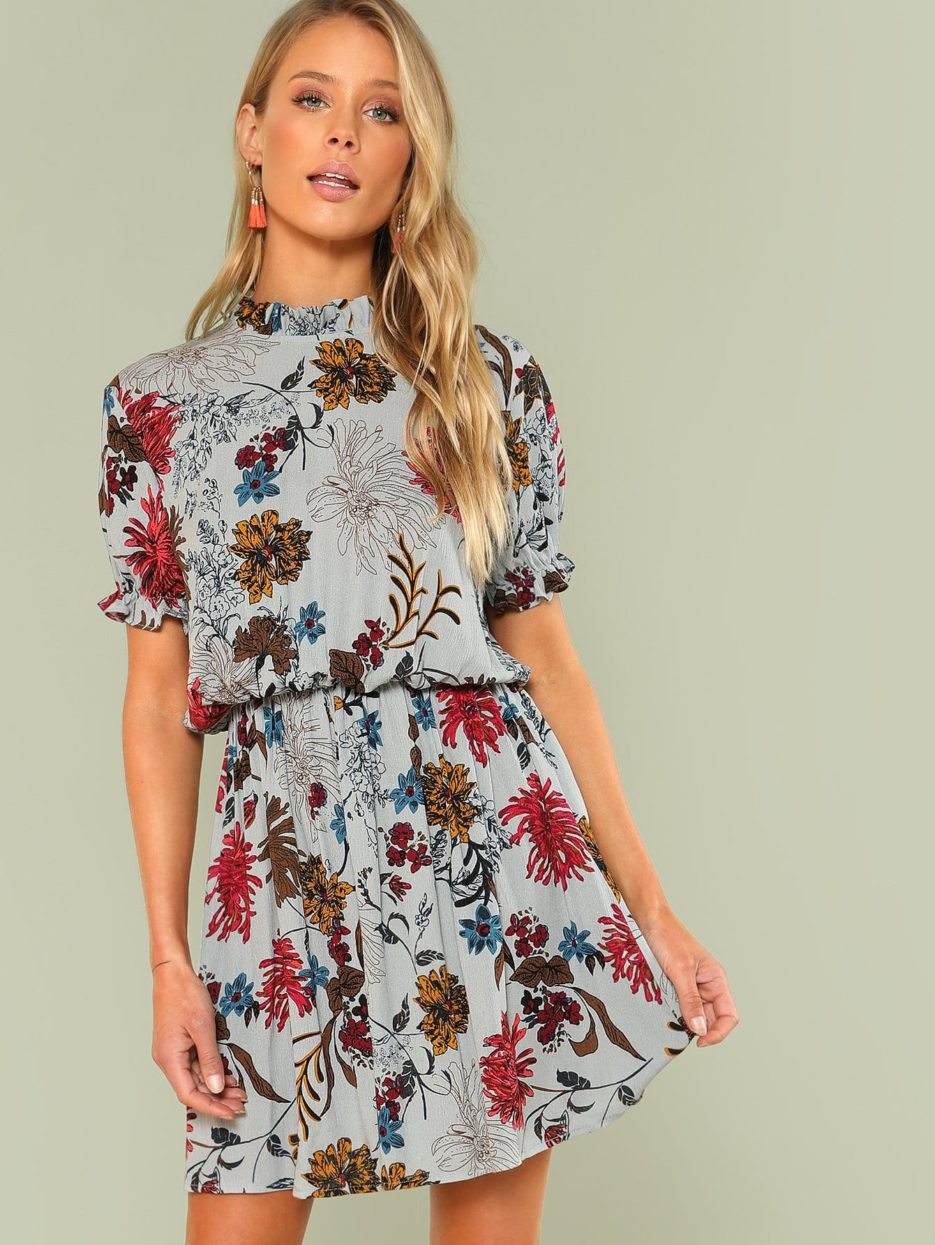 Ruffle Cuff Mock Neck Floral Dress mock neck floral lace long sleeve dress