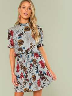 Frill Trim Floral Blouson Dress