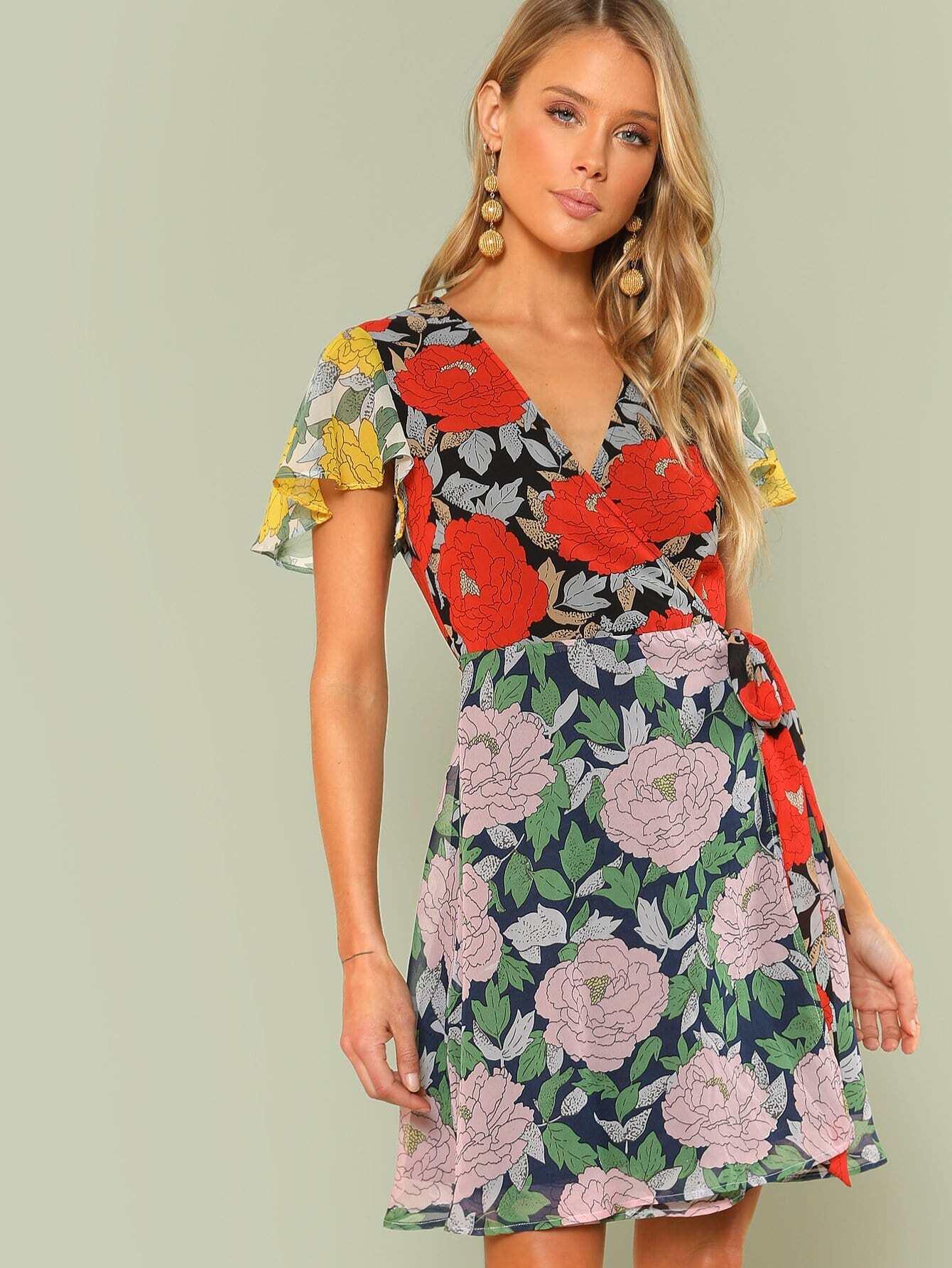 Knot Side Flutter Sleeve Flower Print Dress guitar print knot side dress
