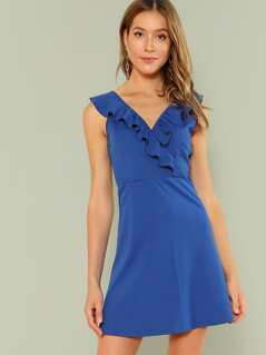 Fit & Flare Ruffle Trim Dress