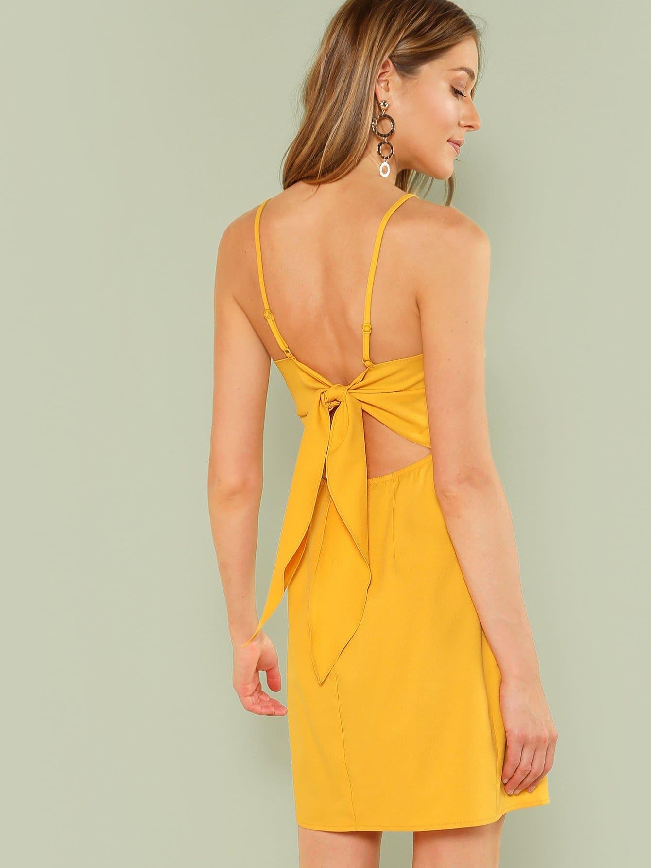 где купить Knot Back Solid Cami Dress дешево