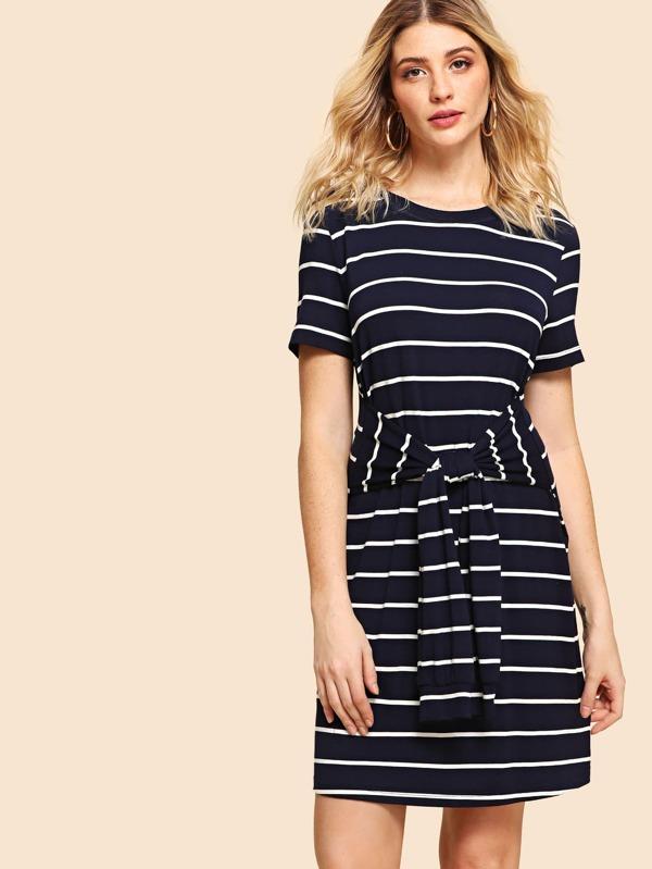 Knot Front Stripe Dress by Shein
