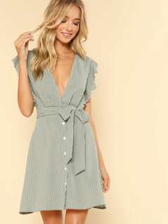 Ruffle Armhole Button Front Belted Striped Dress