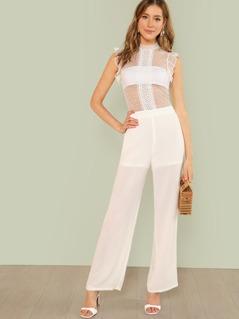 Lace Applique Dot Mesh Bodice Jumpsuit