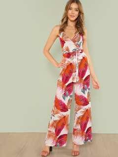 Tropical Print Crisscross Cami Jumpsuit