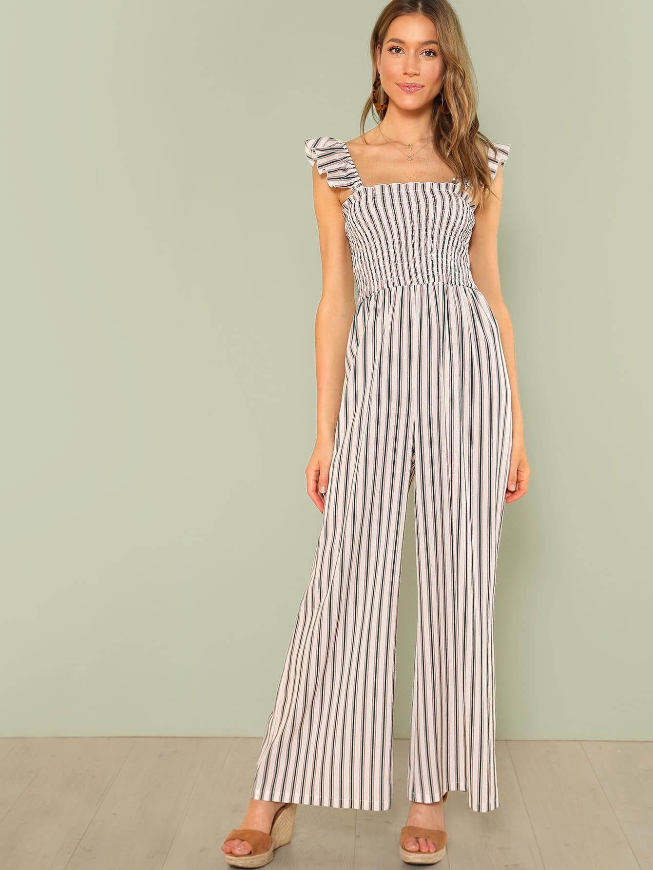 Shirred Panel Wide Leg Striped Jumpsuit shirred panel wide leg striped jumpsuit