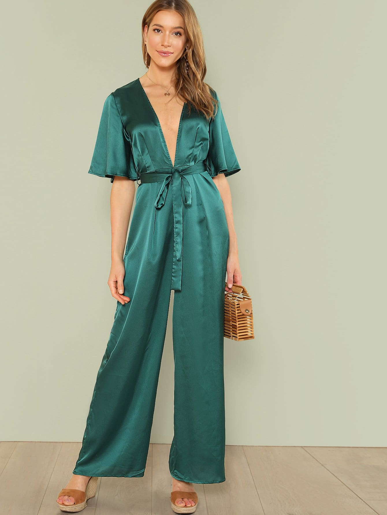 Plunge Neck Self Belted Palazzo Jumpsuit self belted skirt palazzo pants