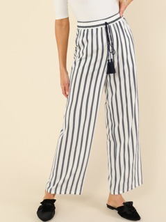 Tassel Knot Wide Leg Striped Pants
