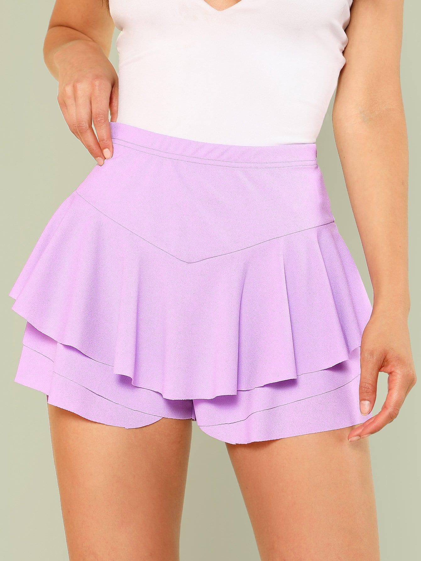 Ruffle Layered Skirt Shorts layered ruffle skirt pants