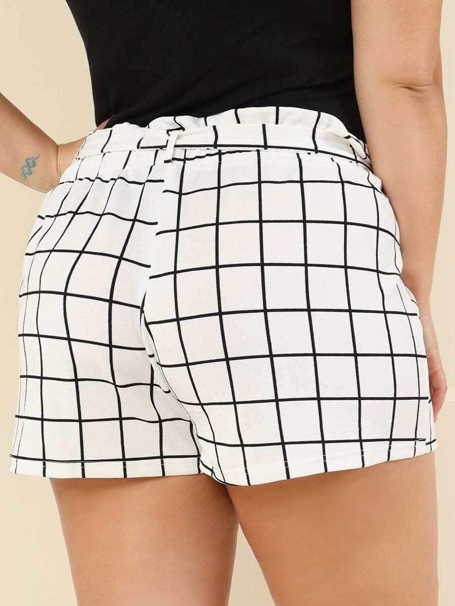 Self Tie Waist Grid Shorts by Shein