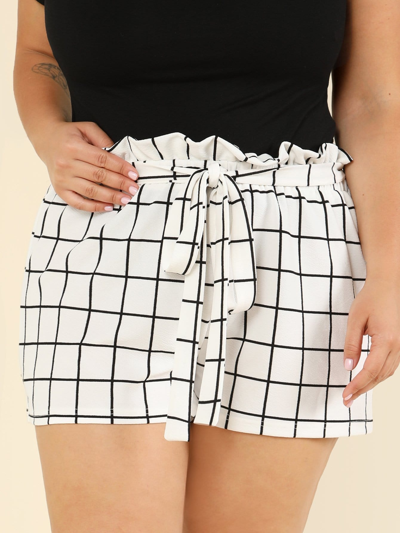 Plus Self Tie Waist Grid Shorts ruffle waist self belt grid shorts