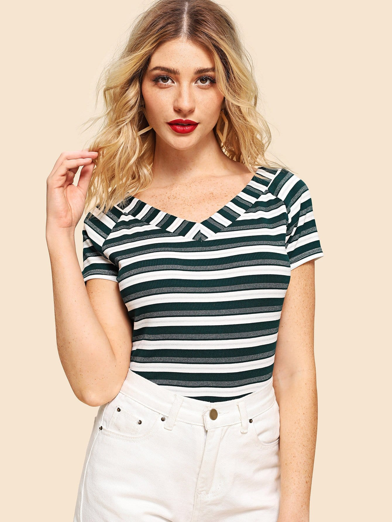 Raglan Sleeve Ribbed Striped T-shirt floral striped raglan sleeve t shirt