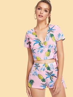 Pineapple Print Knot Wrap Top & Shorts Set