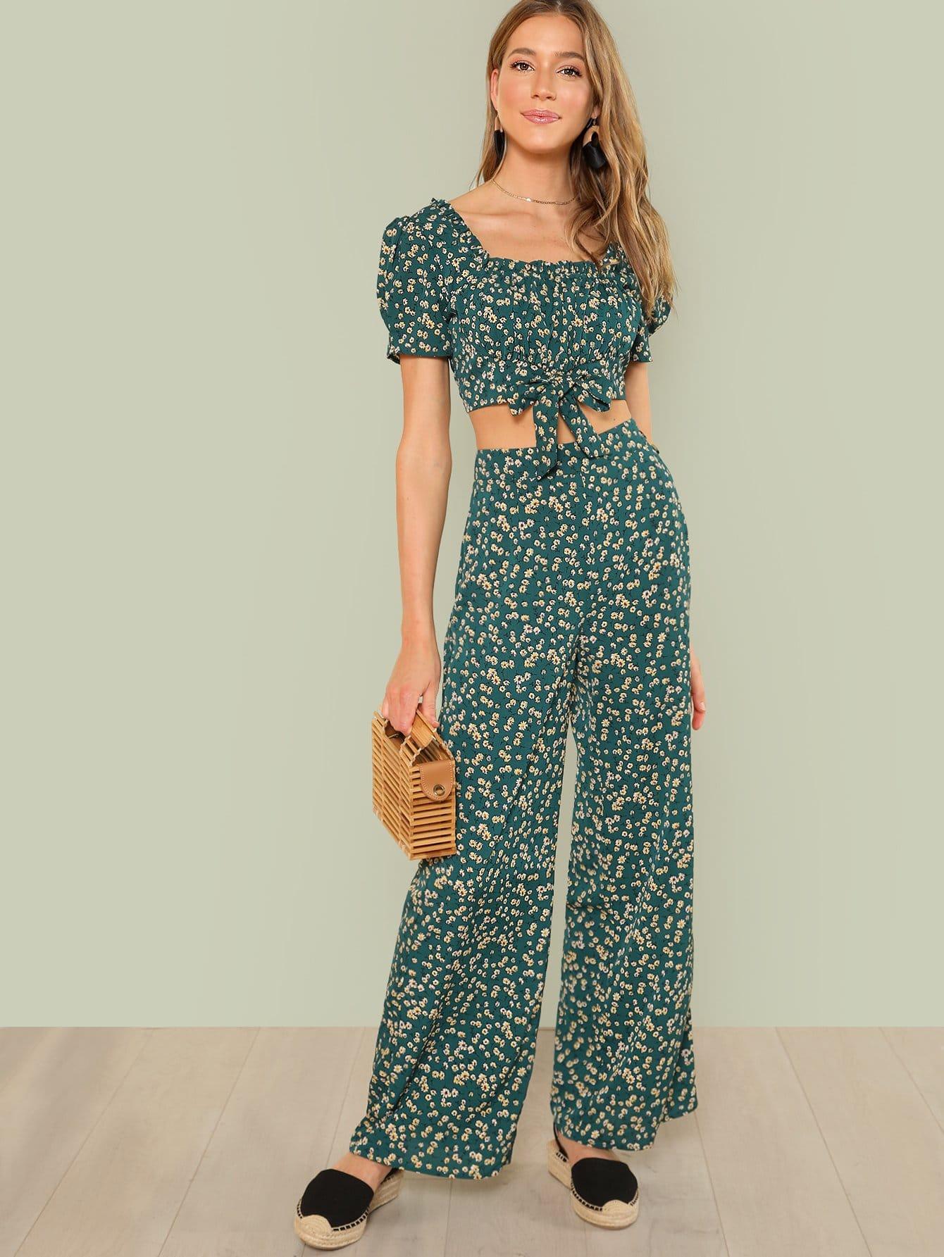 Купить Daisy Print Frill Neck Top & Pants Set, Kaitlin Larsen, SheIn