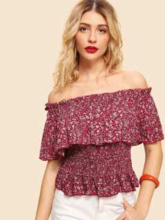 Off Shoulder Smocked Flounce Ditsy Floral Top