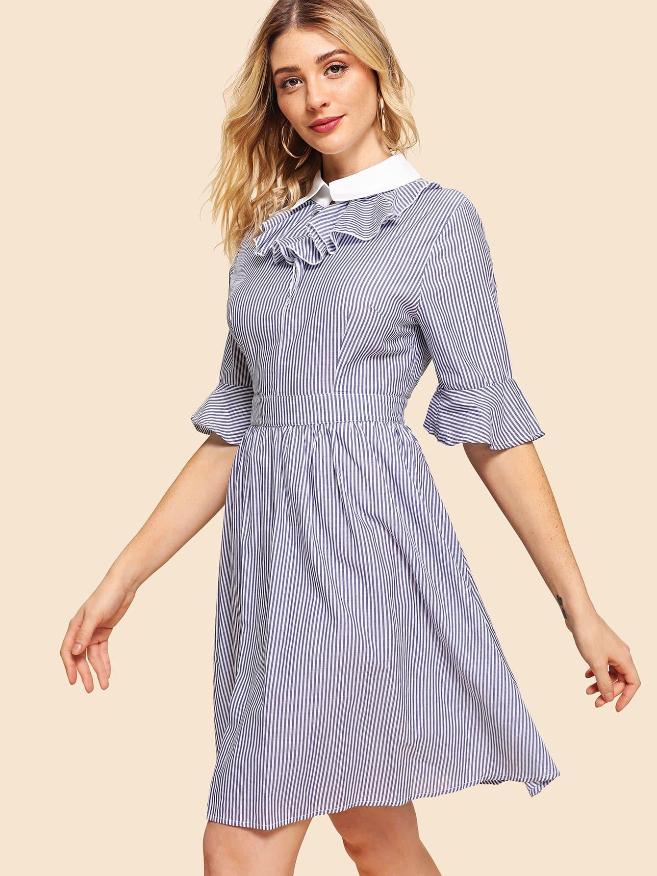 Contrast Collar Pinstripe Flare Dress contrast collar lace applique pleated pinstripe dress
