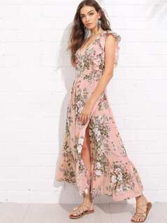 Plunge Neck Ruffle Trim Botanical Dress