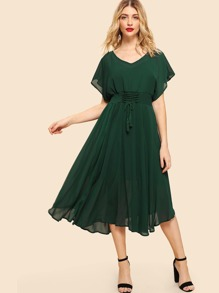 Flutter Sleeve Drawstring Waist Dress