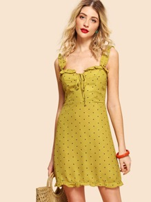 Ruffle Strap Knot Dot Dress