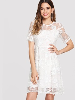 Flower Embroidery Sheer Lace Overlay 2 In 1 Dress