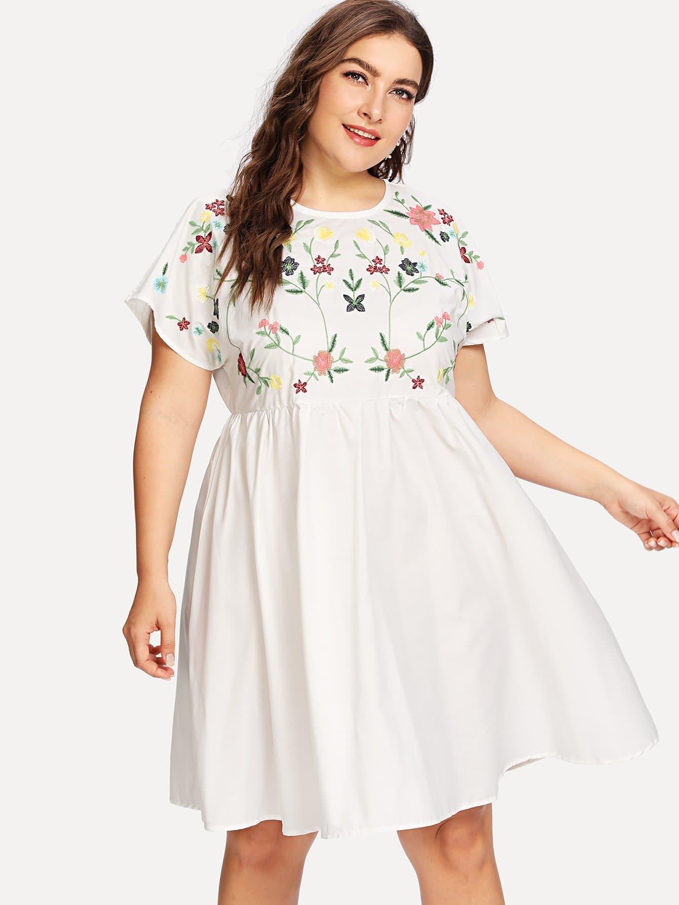 Платье с вышивкой цветы и широкими рукавами, Franziska, SheIn  - купить со скидкой