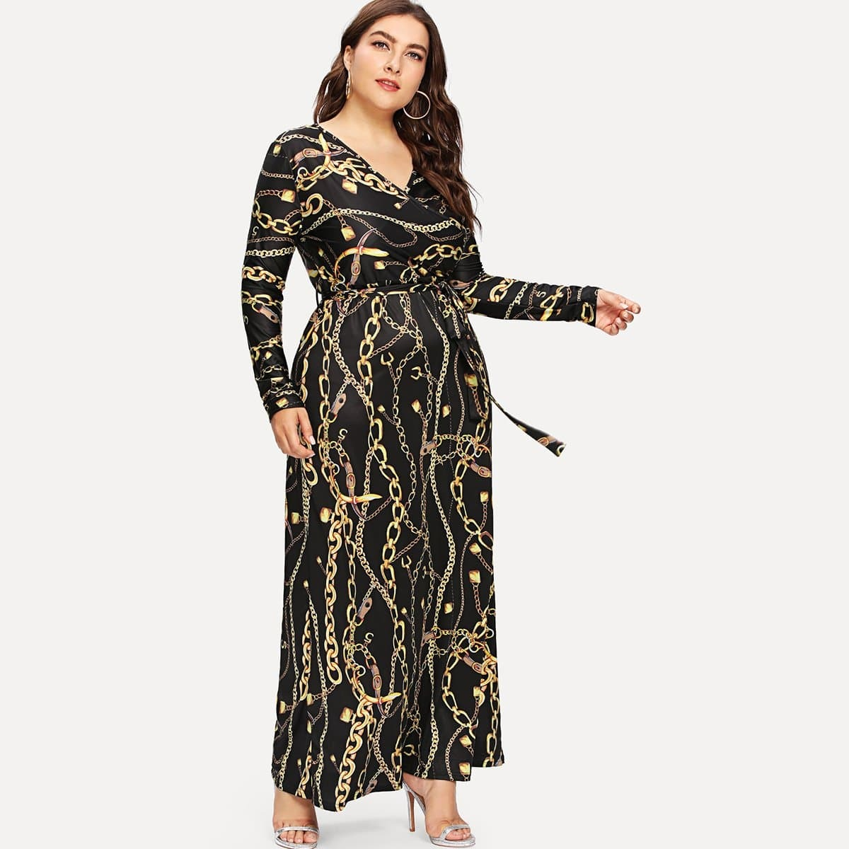Digital Print Plunging Gown Dress