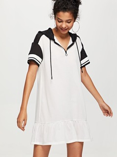 O-Ring Zip Front Ruffle Hem Hooded Dress