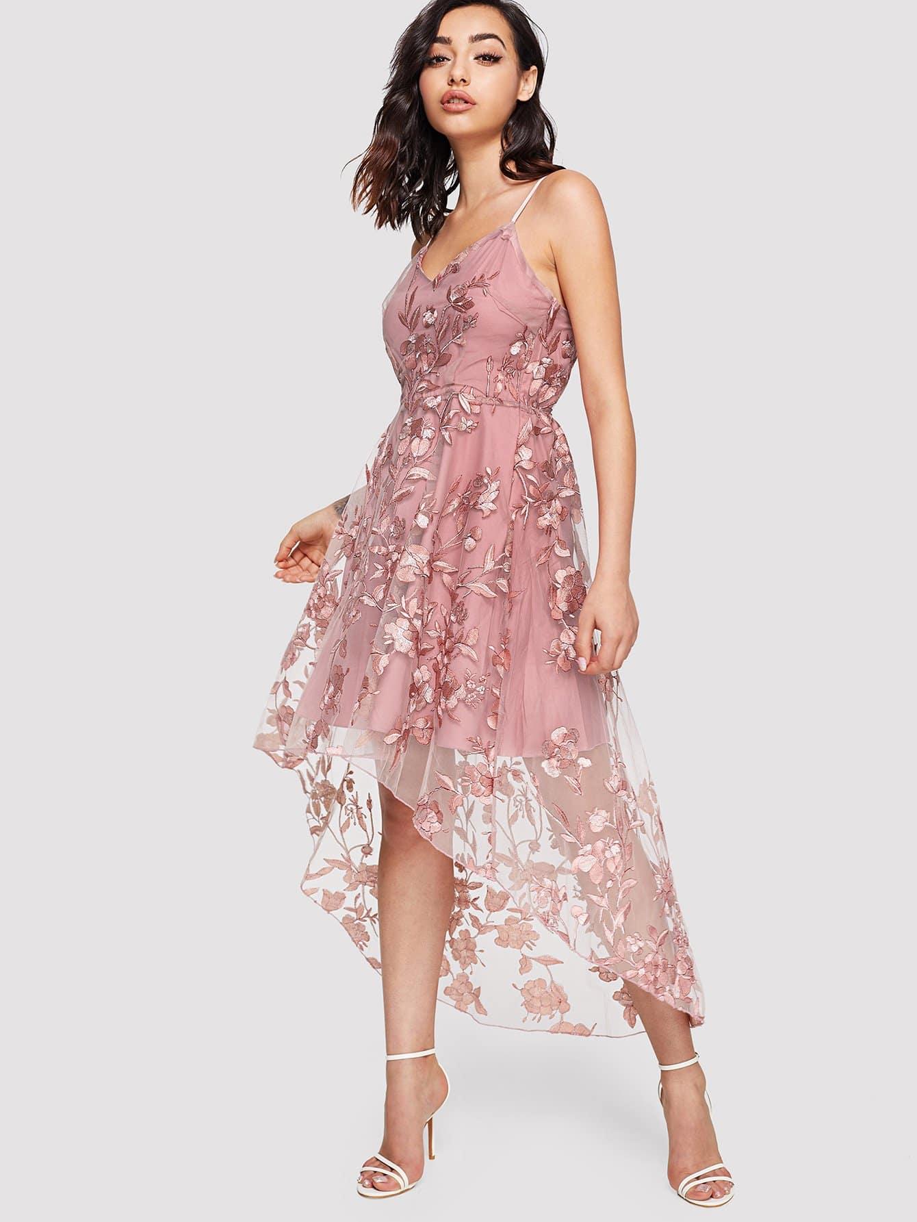 Flower Applique Mesh Overlay Cami Dress flower applique mesh cami top and panty pajama set
