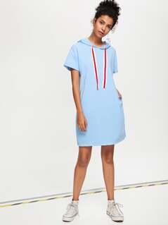 Striped Tape Drawstring Detail Hooded Dress