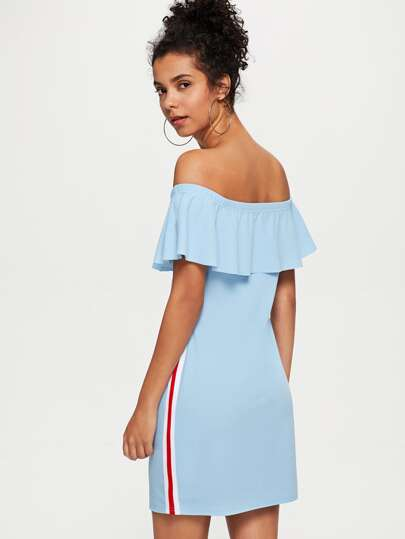 Romwe / Striped Tape Side Flounce Off Shoulder Dress
