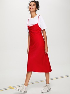 Form Fitted Solid Cami Dress