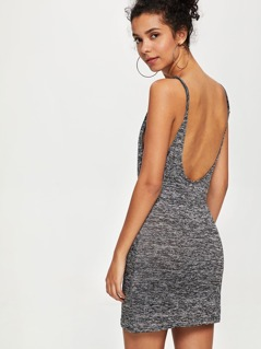 Marled Knit Fitted Cami Dress