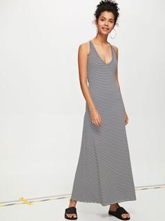 Deep V-Neck Striped Cami Dress