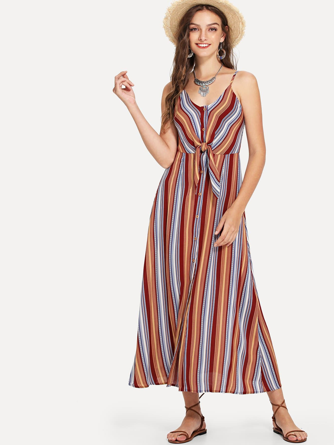 Knot Front Button Up Striped Cami Dress lace up front striped sleeve dress